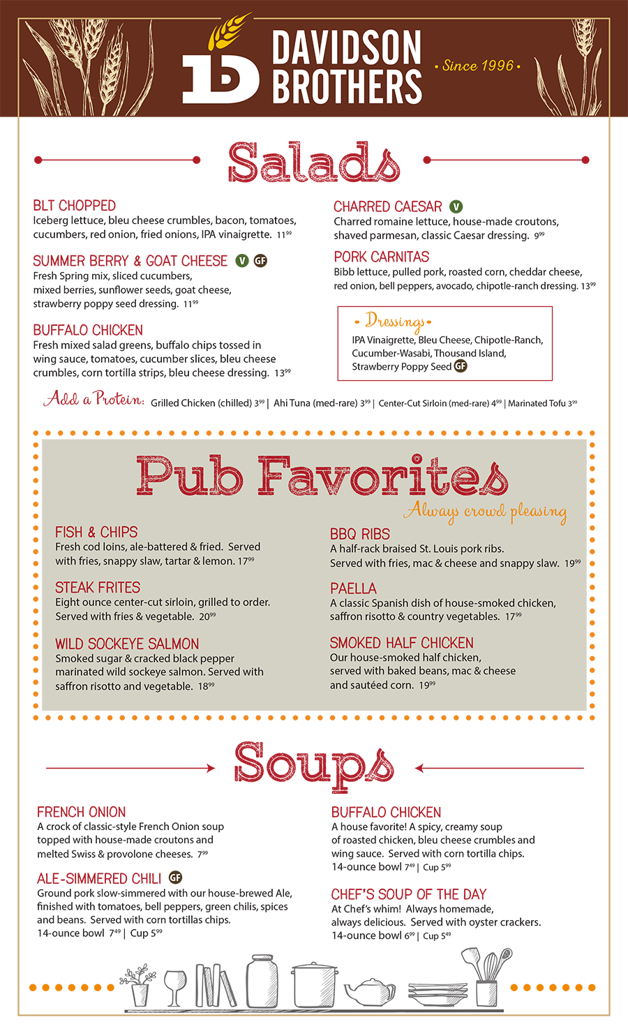 Davidson Brothers Pub Favorites Menu
