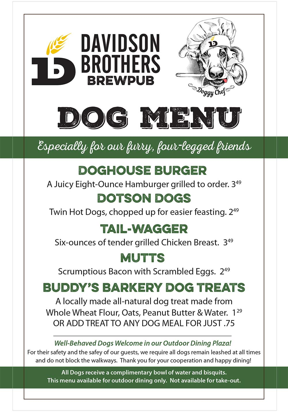 Davidson Brothers Dog Menu